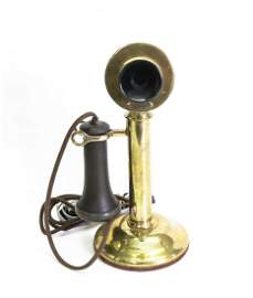 BRASS WESTERN ELECTRIC CANDLESTICK PHONE