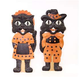 PAIR OF GERMAN HALLOWEEN DECORATIONS