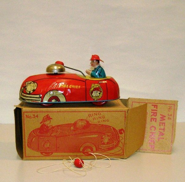 """7: 9"""" FIRE CHIEF METAL PULL - SUPERIOR WITH BOX TOY VER"""