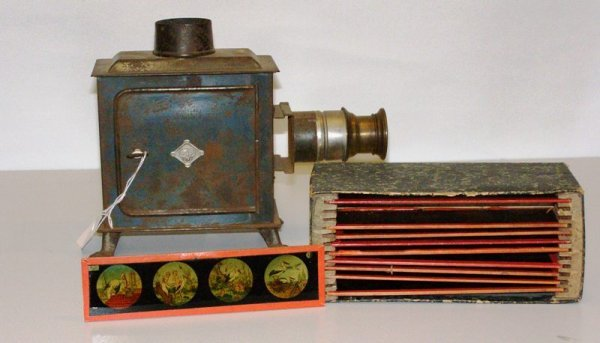 8: EARLY GBN MAGIC LANTERN WITH 10 GLASS SLIDES (CHILDR