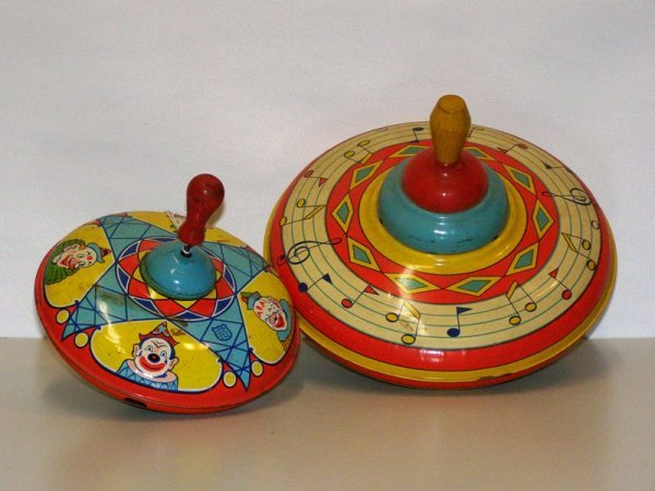 15: (2) TIN J. CHEIN SPINNING TOP - MUSICAL NOT (LARGER