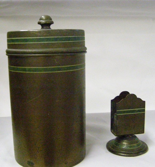 "1: 6"" BRADLEY AND HUBBARD CONTAINER AND MATCH HOLDER"
