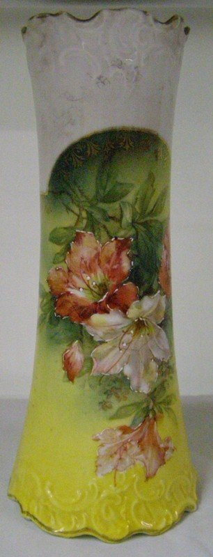 "4: 8"" ROYAL SAXE GERMANY VASE W/ FLOWERS"