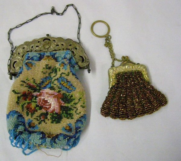 9: (2) BEADED PURSES 1-SILVER TOP