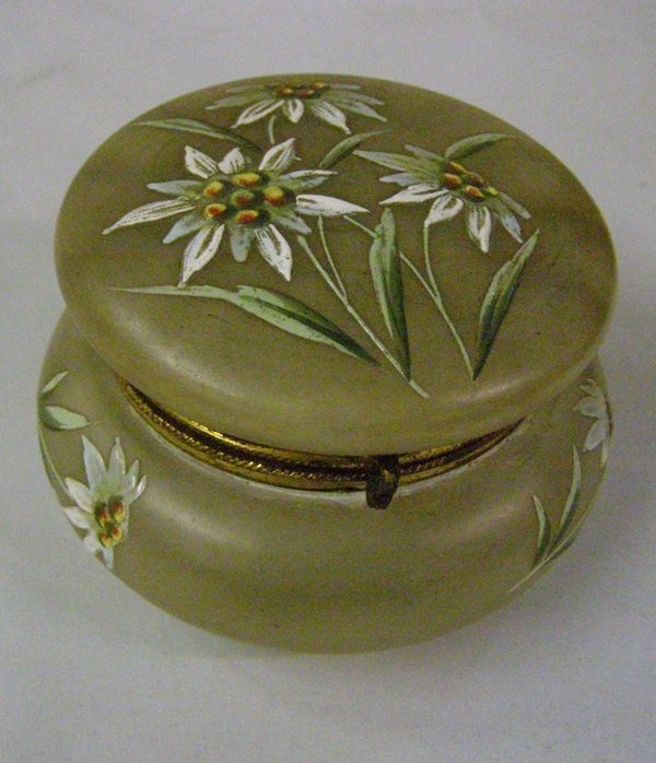 10: LIFT LID BOX W/ HAND PAINTED FLOWERS