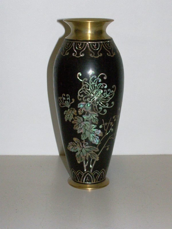 "21: 8"" HEAVY BRASS VASE INLAYED W/ MOTHER OF PEARL DESI"