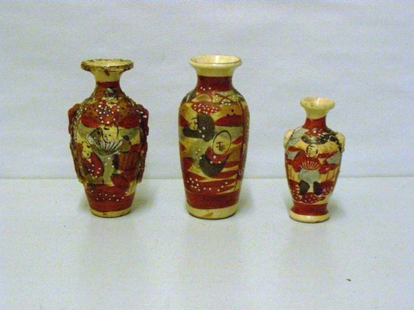 "23: LOT OF (3) ORIENTAL SATSUMA VASES - (2) 5"" AND (1)"
