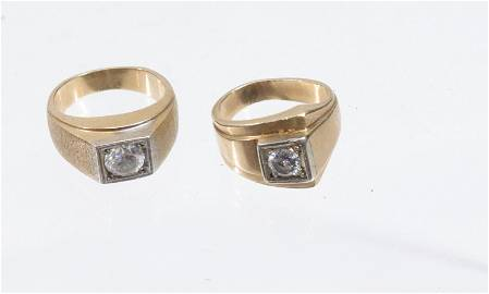 (2) GOLD RINGS WITH DIAMONDS