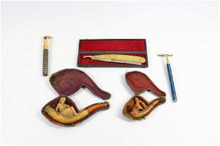 GROUP LOT OF MEERSCHAUM PIPES AND RAZORS