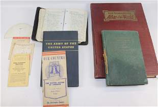 GROUP LOT OF US MILITARY RELATED BOOKS AND ATLAS