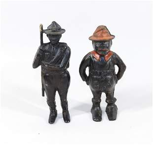 PAIR OF CAST IRON BANKS