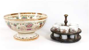 COPPER LUSTRE PUNCH BOWL AND EGG CUPS WITH CARRIER