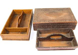 PAIR OF CUTLERY BOXES AND CARVED BOX