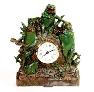CAST IRON FROG MANTLE CLOCK