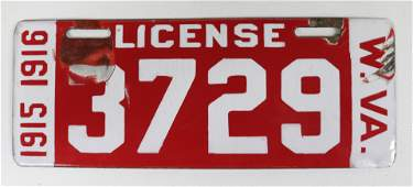 PORCELAIN WEST VIRGINIA 1915-1916 LICENSE PLATE