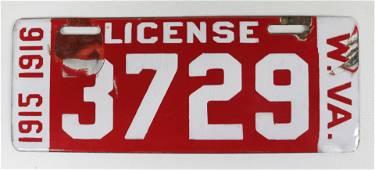 PORCELAIN WEST VIRGINIA 1915-1916 LICENSE PLATE