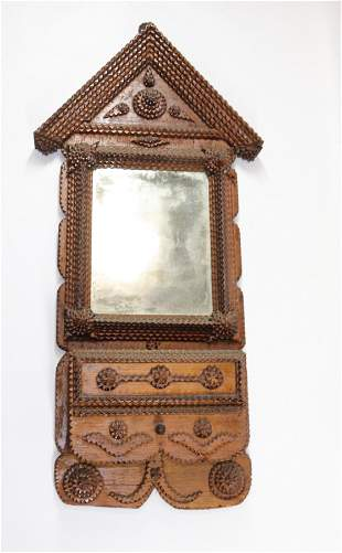 TRAMP ART WALL BOX WITH MIRROR
