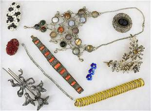 COSTUME AND SILVER JEWELRY LOT