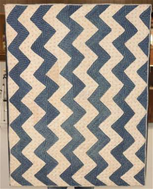 19TH C. CRIB QUILT MOUNTED FOR HANGING