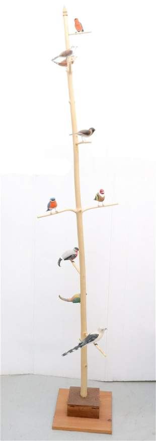 LARGE FOLK ART BIRD TREE