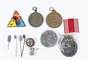GROUP LOT OF GERMAN WWII MEDALS AND BADGES