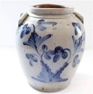 Blue decorated ovoid jar