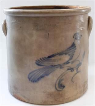 Stoneware blue decorated crock