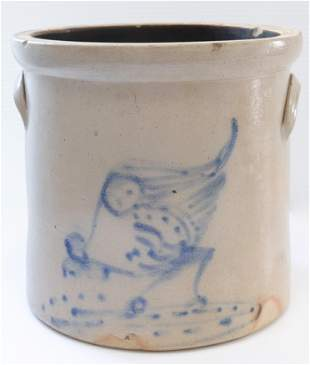 Blue decorated stoneware crock