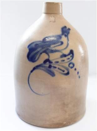 Blue decorated stoneware jug