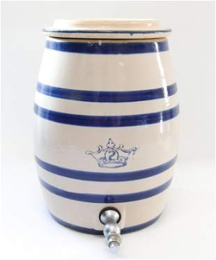 Blue banded stoneware water cooler