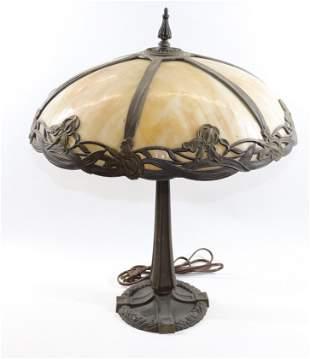 SLAG GLASS ART NOUVEAU STYLE LAMP