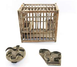 SMALL WOODEN BIRDCAGE AND COOKIE CUTTERS