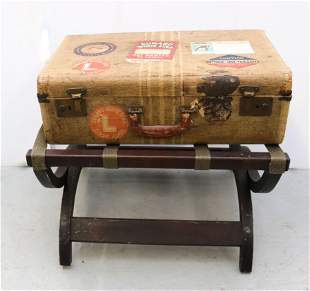 VINTAGE SUITCASE AND RACK