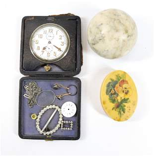 TRAVEL CLOCK, MARBLE SPHERE AND FLORAL PAPERWEIGHT