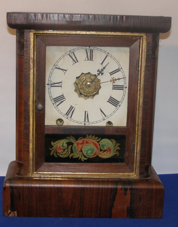 "13: ROSEWOOD MANTLE CLOCK NEW HAVEN CT. 13"" X 10"" X 4 1"