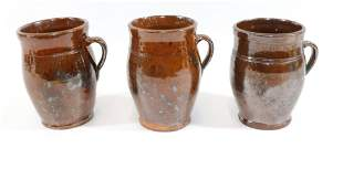 19TH CENTURY REDWARE HANDLED CROCKS