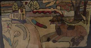 FOLK ART HOOKED RUG DEPICTING A DOG