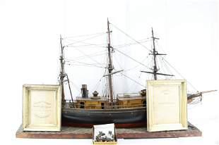 MONUMENTAL WOODEN PRESENTATION MODEL STEAM SHIP