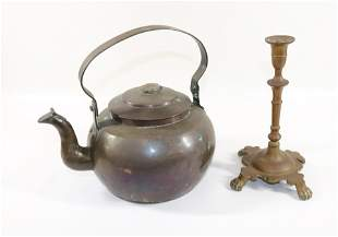 COPPER TEA KETTLE AND CANDLESTICK
