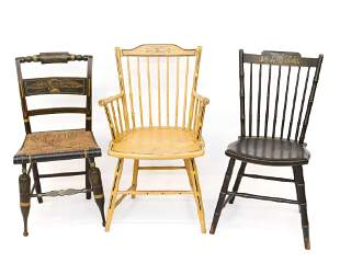 GROUP OF PAINT DECORATED CHAIRS