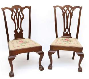 PR. OF MAHGOANY CHIPPENDALE SIDE CHAIRS