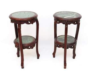 PAIR OF MAHOGANY MARBLE TOP STANDS