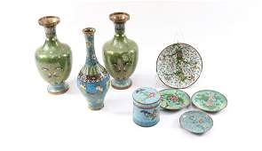 GROUP LOT OF CLOISONNE VASES AND MORE