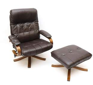 DANISH MODERN TEAK LOUNGE CHAIR WITH OTTOMAN