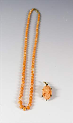 CARVED CORAL CAMEO AND NECKLACE
