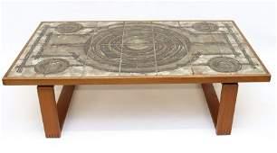DANISH MODERN OX-ART TEAK TILE TOP COFFEE TABLE