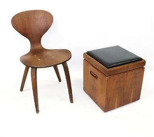 DANISH MODERN OTTOMAN BY LANE AND MOLDED PLYWOOD CHAIR