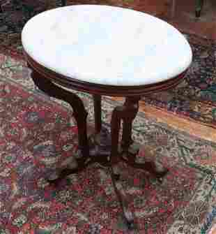 WALNUT VICTORIAN MARBLE TOP TABLE