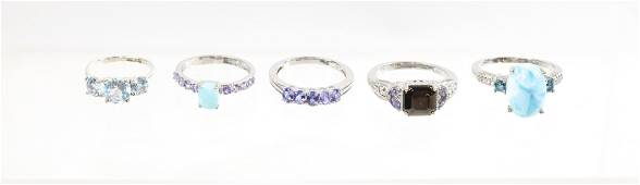 CONTEMPORARY STERLING SILVER RING LOT