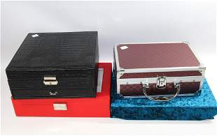 4 JEWELRY CASES BOXES